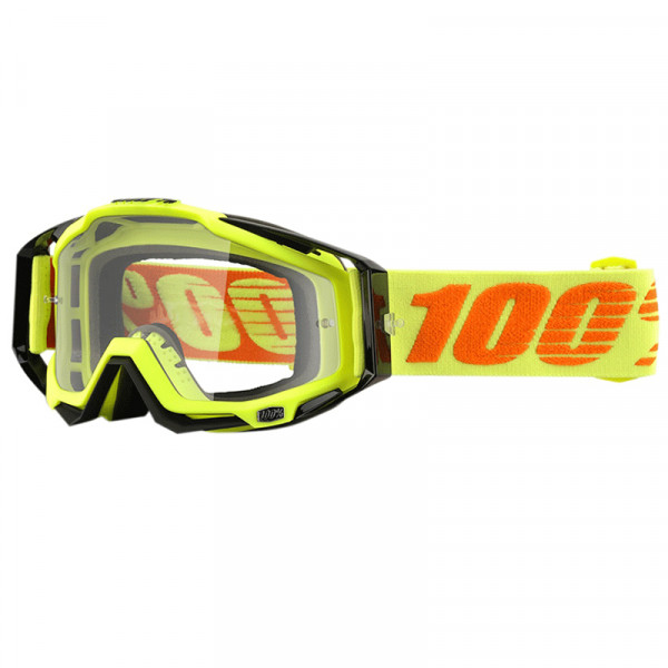 Racecraft Goggle Anti Fog Clear Lens - Attack Yellow