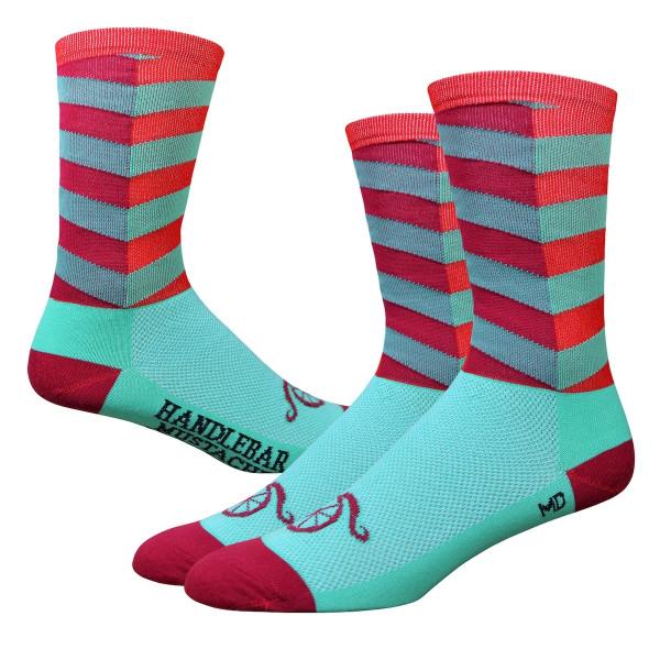 Aireator Socken - Handlebar Mustache - Türkis/Rot