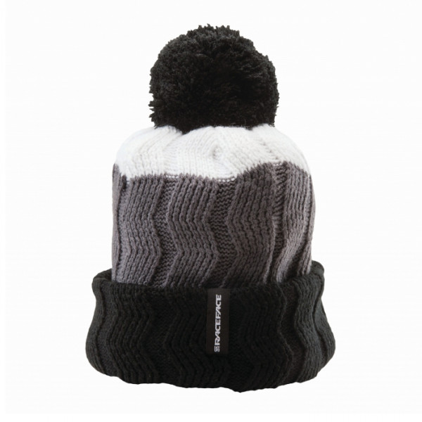Bob Cable Knit Toque Bommelmütze - White/Grey