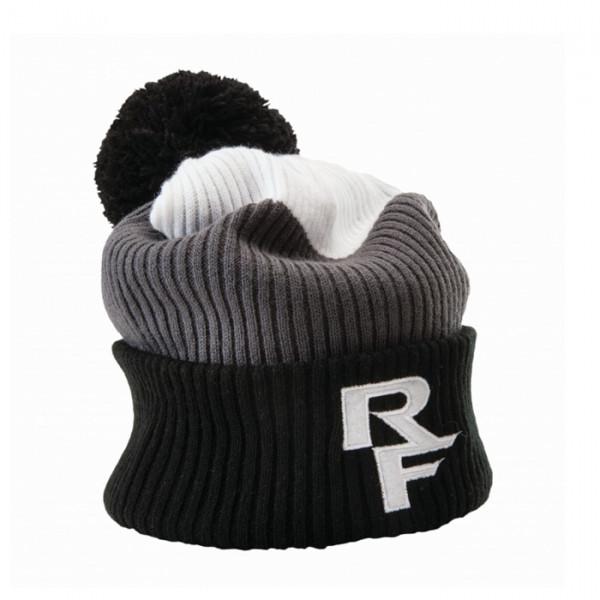 Doug Rib Knit Toque Bommelmütze - White/Grey