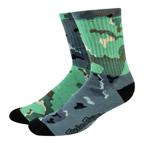 Mixed Camo Crew Socks - Green/Gray