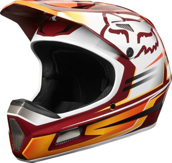 Rampage Comp Helm - Cardinal Weiß/Orange