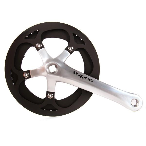 XD2 Singlespeed Kurbelgarnitur mit Kettenschutz silber