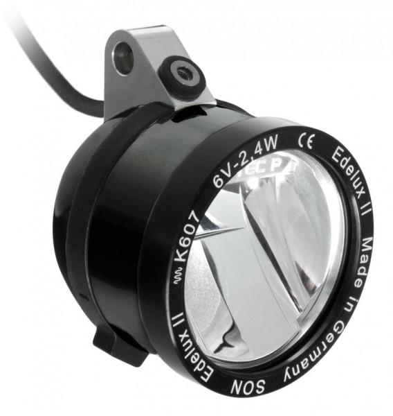 Edelux II-hängend-LED-Scheinwerfer für Nabendynamos schwarz eloxiert