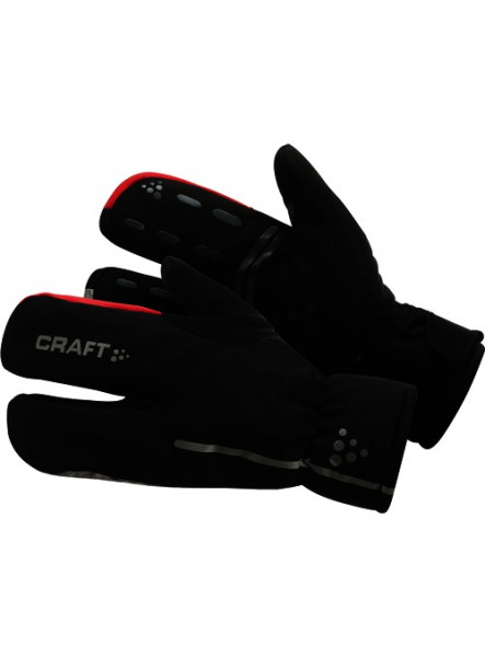 Siberian Split Finger Gloves Black/Bright Red