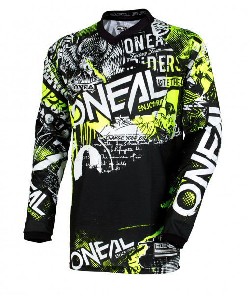 Element Attack Long Sleeve Jersey - black/neon yellow - 2018