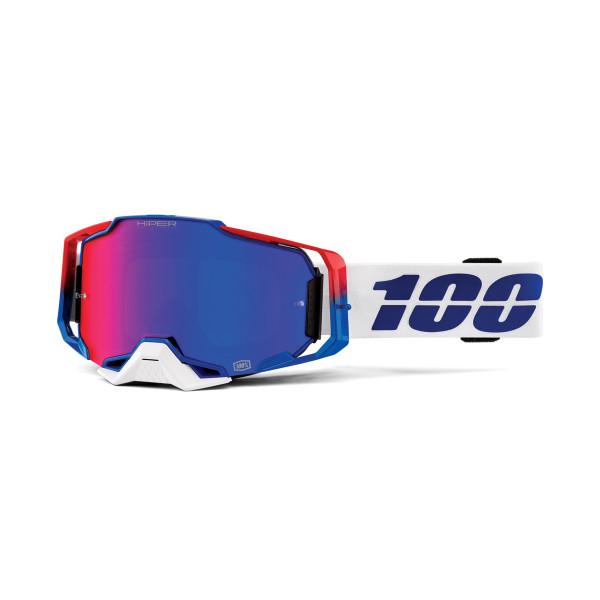 Armega Goggle Anti Fog - Weiß/Blau/Rot - verspiegelt