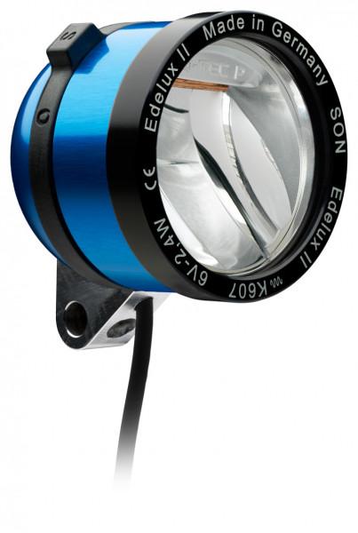 Edelux II LED-Scheinwerfer für Nabendynamos- blau eloxiert