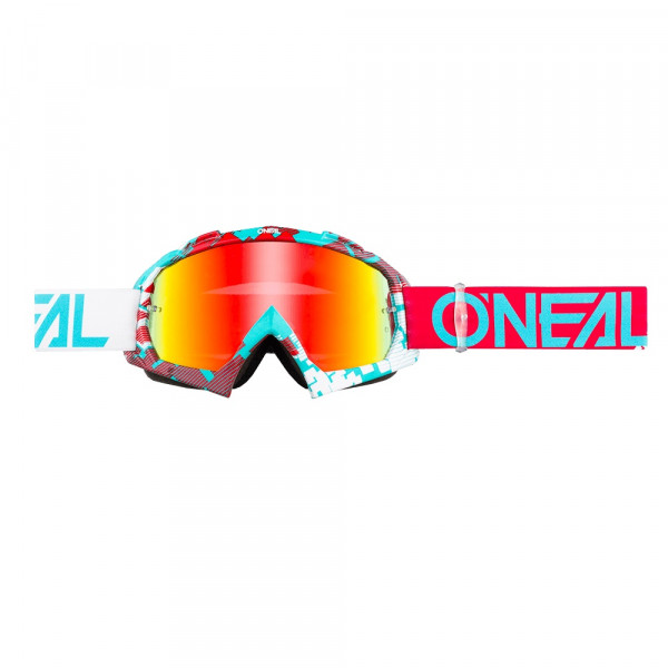 B10 Pixel Goggle - ruby red/teal - Glass radium red