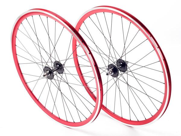 Deep Section FlipFlop Laufradsatz - rot / schwarz